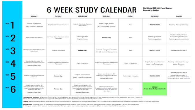 Kaplan ACT Study Schedule